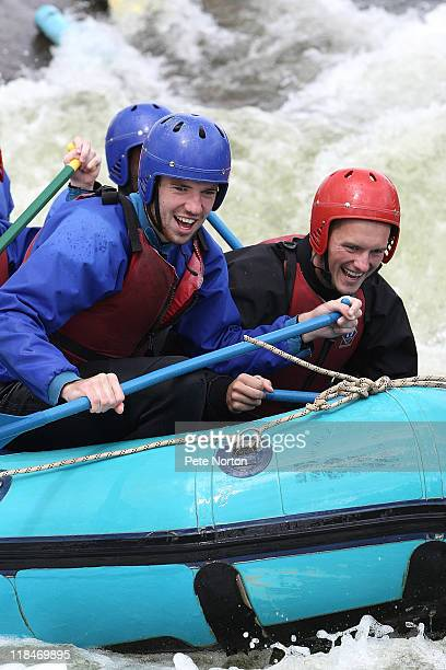 Ben Tozer and Shaun Harrad of Northampton Town in action during a training session at Nene Whitewater centre on July 7, 2011 in Northampton, England.
