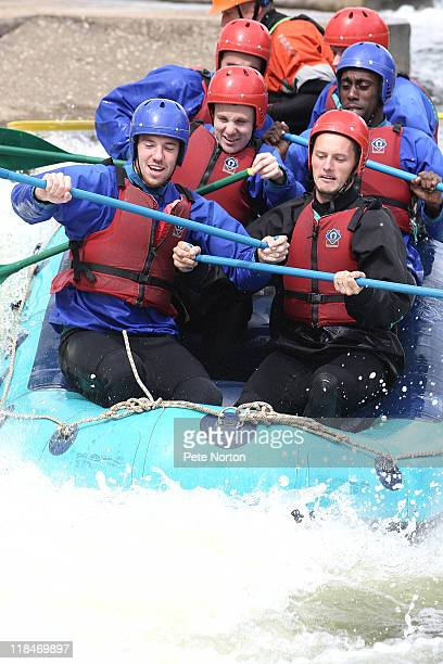 Ben Tozer, Shaun Harrad, Kevin Thornton and Nick McKoy of Northampton Town in action during a training session at Nene Whitewater Centre on July 7,...