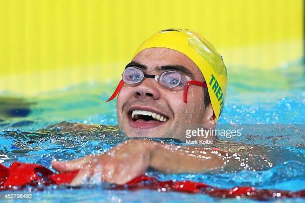 Ben Treffers of Australia celebrates winning the gold medal in the Men's 50m Backstroke Final at Tollcross International Swimming Centre during day...