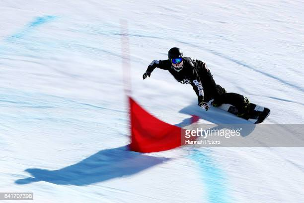 Ben Tudhope of Australia competes in the Men's Banked Slalom Lower Limb 2 Imp final during the Winter Games NZ Para Snowboard Banked Slalom World Cup...