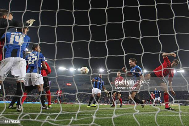 Ben Turner of Cardiff City scores his sides goal during the npower Championship match between Cardiff City and Barnsley at the Cardiff City Stadium...