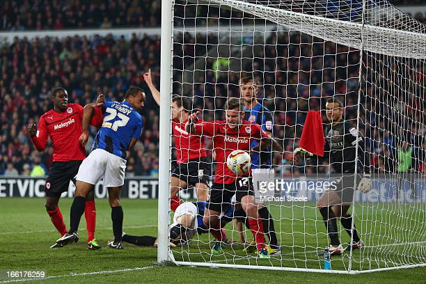 Ben Turner of Cardiff City scores his sides opening goal during the npower Championship match between Cardiff City and Barnsley at the Cardiff City...
