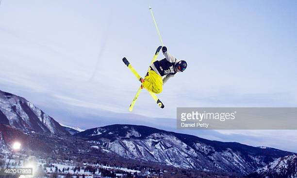 Ben Valentin of France competes during the first run of the elimination round of the men's ski halfpipe during Winter X Games Aspen 2015 at...