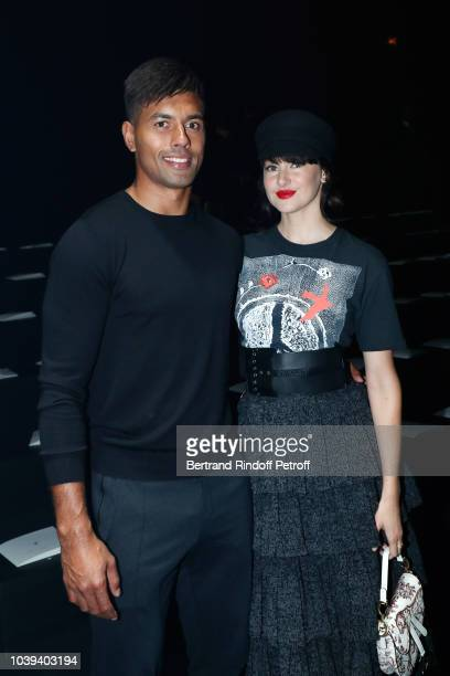 Ben Volavola and actress Shailene Woodley attend the Christian Dior show as part of the Paris Fashion Week Womenswear Spring/Summer 2019 on September...