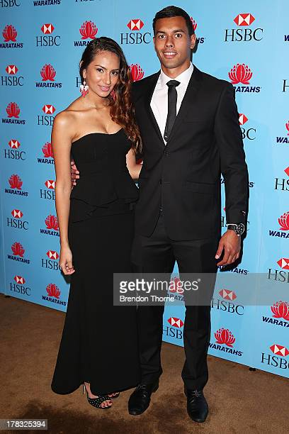 Ben Volavola and Jackie Wiser arrive at the HSBC Waratahs Awards Dinner at The Ivy on August 29 2013 in Sydney Australia