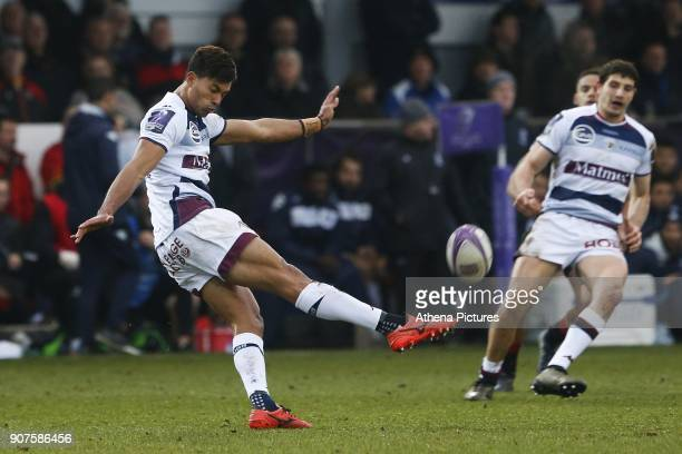 Ben Volavola of Bordeaux Begles clears the ball during the European Challenge Cup match between Dragons and Bordeaux Begles at Rodney Parade on...
