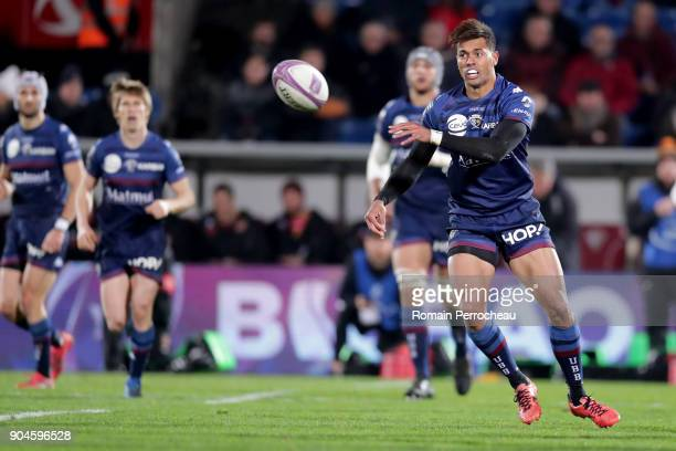 Ben Volavola of Bordeaux in action during the European Rugby Challenge Cup match between Union Bordeaux Begles and Newport Dragons at stade Chaban...