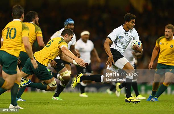 Ben Volavola of Fiji breaks to score his teams opening try during the 2015 Rugby World Cup Pool A match between Australia and Fiji at the Millennium...