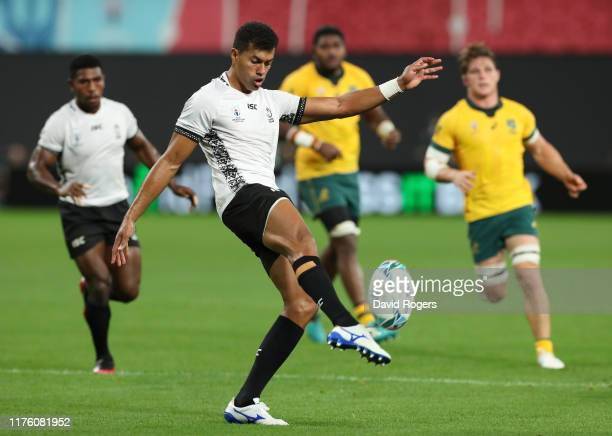 Ben Volavola of Fiji clears the ball during the Rugby World Cup 2019 Group D game between Australia and Fiji at Sapporo Dome on September 21, 2019 in...