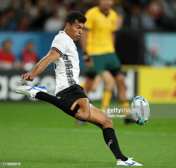Ben Volavola of Fiji clears the ball during the Rugby World Cup 2019 Group D game between Australia and Fiji at Sapporo Dome on September 21 2019 in...