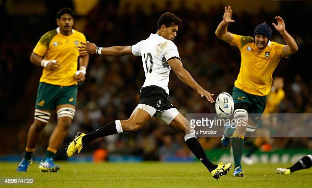 Ben Volavola of Fiji in action during the 2015 Rugby World Cup Pool A match between Australia and Fiji at Millennium Stadium on September 23 2015 in...