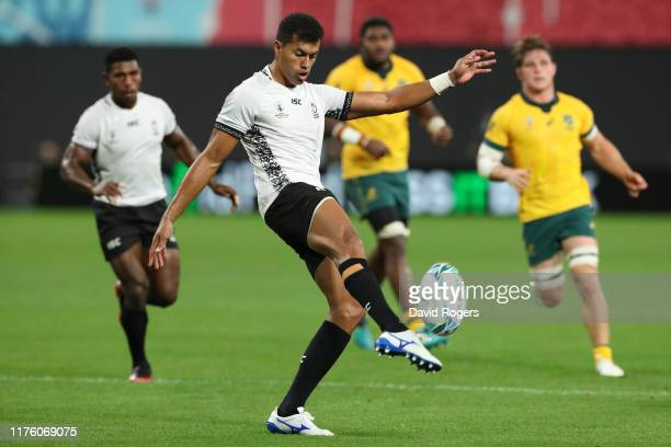Ben Volavola of Fiji kicks the ball during the Rugby World Cup 2019 Group D game between Australia and Fiji at Sapporo Dome on September 21 2019 in...