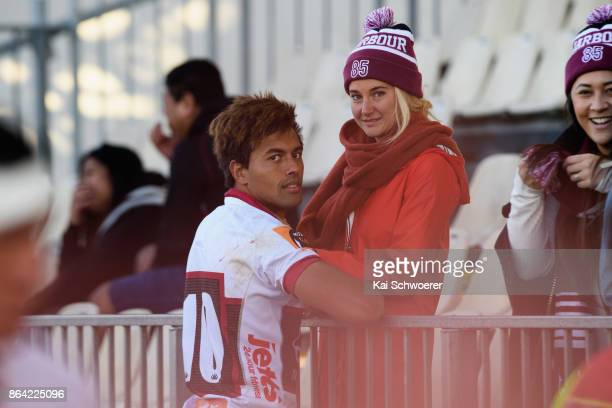 Ben Volavola of North Harbour and actress Shailene Woodley look on following the Mitre 10 Cup Semi Final match between Canterbury and North Harbour...