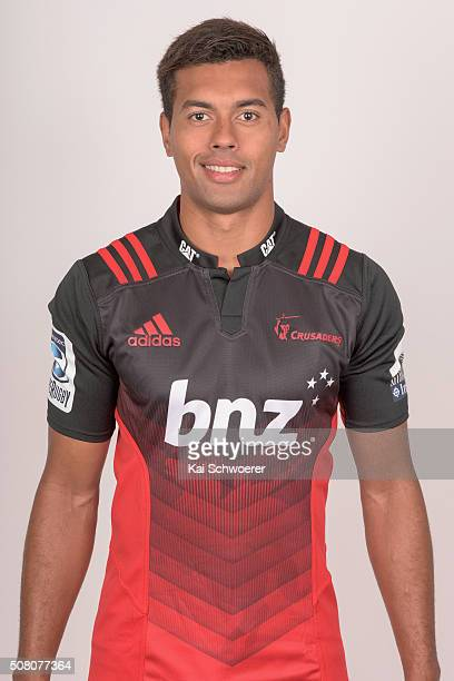 Ben Volavola poses during the 2016 Crusaders Super Rugby headshots session on February 3 2016 in Christchurch New Zealand
