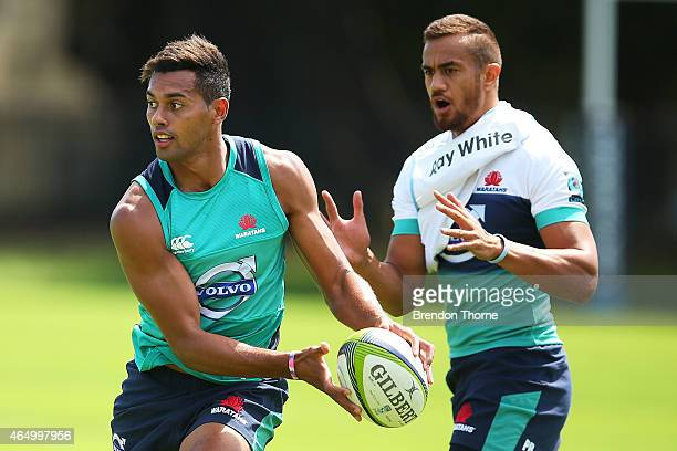 Ben Volavola runs the ball during a NSW Waratahs training session at Moore Park on March 3 2015 in Sydney Australia