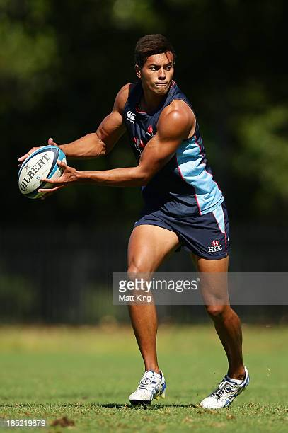 Ben Volavola runs with the ball during a Waratahs Super Rugby training session at Moore Park on April 2, 2013 in Sydney, Australia.