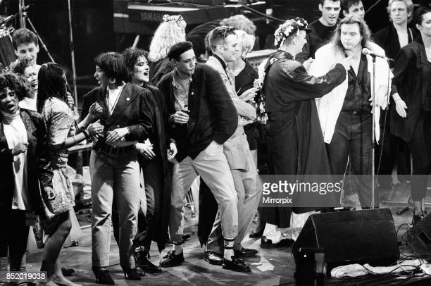 Ben VolpelierePierrot Boy George and Meat Loaf performing at the Stand by Me AIDS Day Benefit concert at Wembley Arena London 1st April 1987