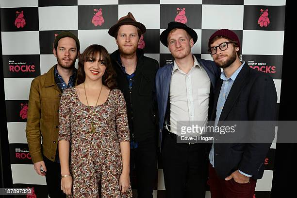 Ben Wahamaki Neyla Pekarek Wesley Schultz Jeremiah Fraites and Stelth Ulvang of The Lumineers pose backstage during the 'BBC Children In Need Rocks'...