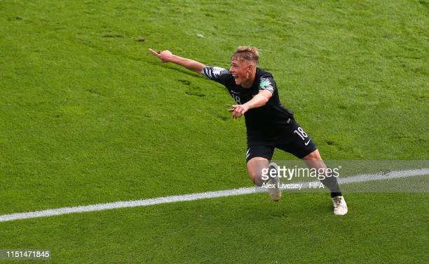 Ben Waine of New Zealand celebrates after scoring the second goal during the 2019 FIFA U20 World Cup group C match between Honduras and New Zealand...
