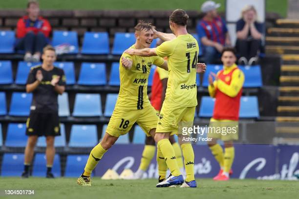 Ben Waine of the Pheonix celebrates his goal during the A-League match between the Newcastle Jets and the Wellington Phoenix at McDonald Jones...
