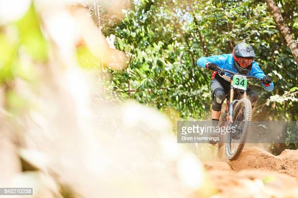 Ben Wallace of Canada competes in the Junior Mens Downhill Championship during the 2017 Mountain Bike World Championships on September 10 2017 in...