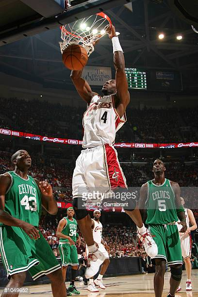 Ben Wallace of the Cleveland Cavaliers dunks against the Boston Celtics in Game Three of the 2008 NBA Eastern Conference Semifinals on May 10, 2008...