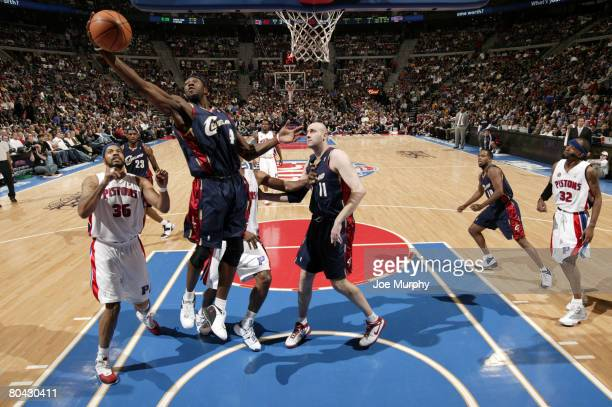 Ben Wallace of the Cleveland Cavaliers pulls down a rebound past Rasheed Wallace of the Detroit Pistons on March 29, 2008 at the Palace of Auburn...