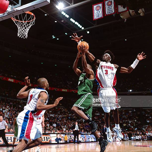 Ben Wallace of the Detroit Pistons blocks a shot against the Boston Celtics during Game 5 of the Eastern Conference SemiFinals of the 2002 NBA...
