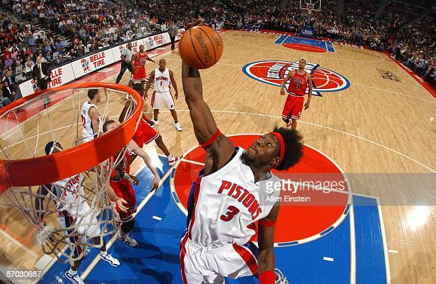 Ben Wallace of the Detroit Pistons dunks against the Chicago Bulls on March 8 2006 at the Palace of Auburn Hills in Auburn Hills Michigan NOTE TO...
