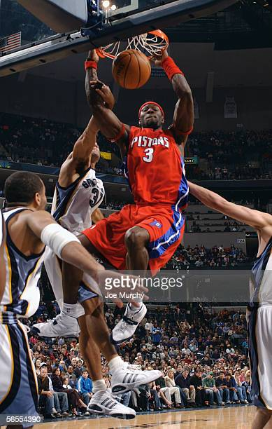 Ben Wallace of the Detroit Pistons dunks during the game with the Memphis Grizzlies on December 19, 2005 at FedexForum in Memphis, Tennessee. The...