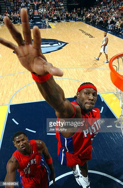 Ben Wallace of the Detroit Pistons goes up for a block against the Memphis Grizzlies on December 19, 2005 at FedexForum in Memphis, Tennessee. NOTE...