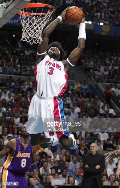 Ben Wallace of the Detroit Pistons goes up for a dunk against the Los Angeles Lakers in the third quarter of game four of the 2004 NBA Finals on June...