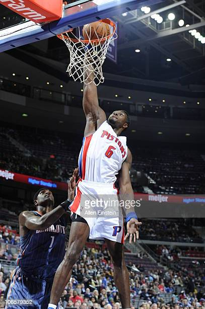Ben Wallace of the Detroit Pistons goes up for a dunk over Stephen Jackson of the Charlotte Bobcats in a game on November 5 2010 at The Palace of...