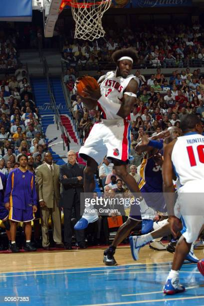Ben Wallace of the Detroit Pistons grabs a rebound against the Los Angeles Lakers during game four of the 2004 NBA Finals June 13 2004 at the Palace...