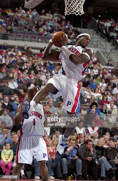 Ben Wallace of the Detroit Pistons grabs a rebound during the game with the Toronto Raptors on December 27 2005 at the Palace of Auburn Hills in...