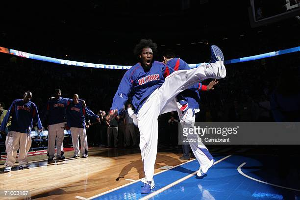 Ben Wallace of the Detroit Pistons is introduced against the Cleveland Cavaliers in game seven of the Eastern Conference Semifinals during the 2006...
