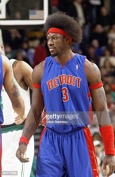 Ben Wallace of the Detroit Pistons is on the court during the game against the Boston Celtics on March 11 2005 at the FleetCenter in Boston...