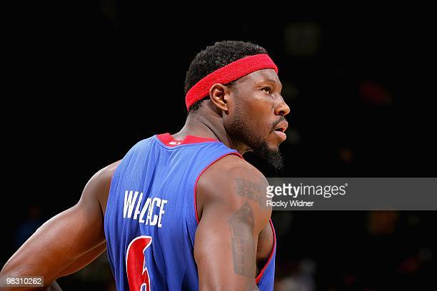 Ben Wallace of the Detroit Pistons looks across the court during the game against the Golden State Warriors on February 27 2009 at Oracle Arena in...