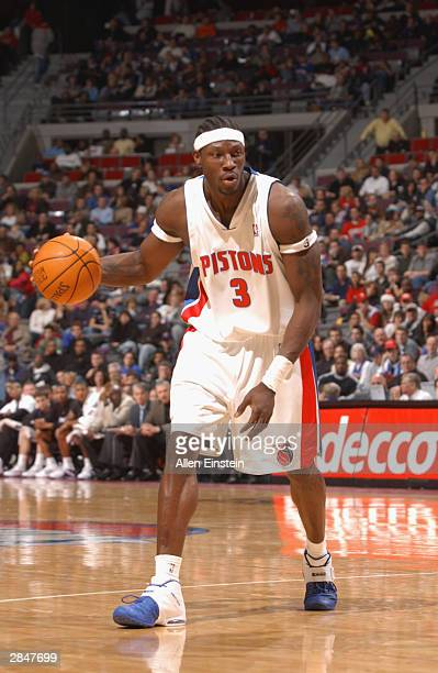 Ben Wallace of the Detroit Pistons moves the ball against the Utah Jazz during the game on December 21 2003 at Palace of Auburn Hills in Auburn Hills...