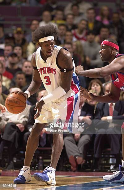 Ben Wallace of the Detroit Pistons posts up during the game against the Los Angeles Clippers on March 31, 2004 at the Palace of Auburn Hills in...