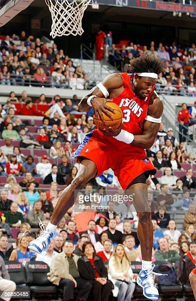 Ben Wallace of the Detroit Pistons rebounds against the New Jersey Nets on February 14 2006 at the Palace of Auburn Hills in Auburn Hills Michigan...