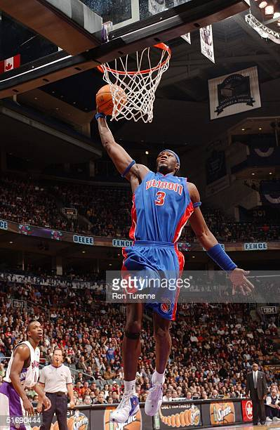 Ben Wallace of the Detroit Pistons soars in for the onehanded slam during his game versus the Toronto Raptors on November 5 2004 at the Air Canada...