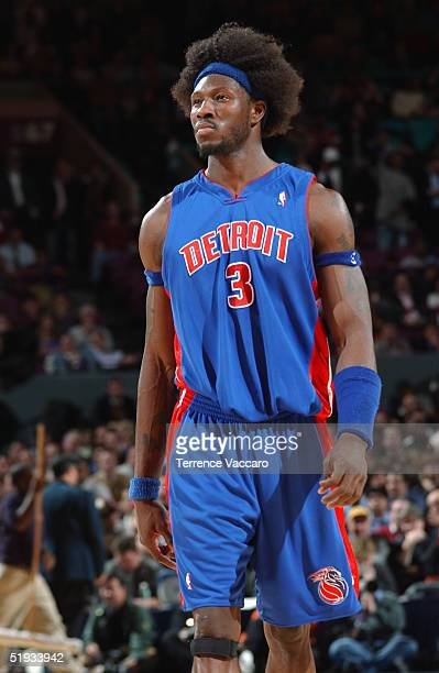 Ben Wallace of the Detroit Pistons walks on the court during the game against the New York Knicks on December 15 2004 at Madison Square Garden in New...