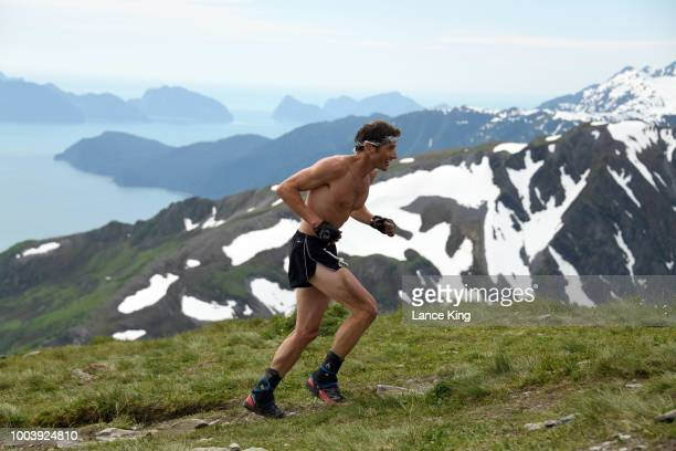 Ben Ward approaches the top of Mount Marathon during the Men's Division of the 91st Running of the Mount Marathon Race on July 4 2018 in Seward...