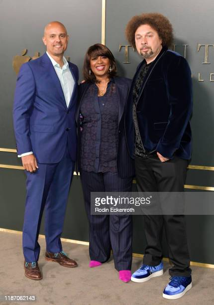 Ben Watkins Nichelle D Tramble and Malcolm Spellman attend the Premiere of Apple TV's Truth Be Told at AMPAS Samuel Goldwyn Theater on November 11...