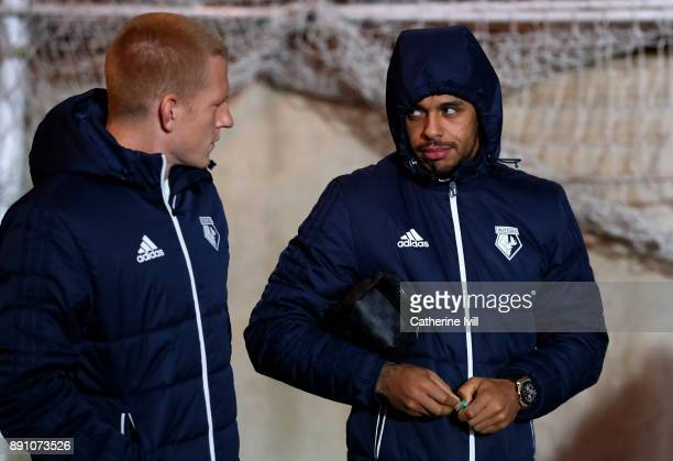 Ben Watson and Andre Gray of Watford arrive for the Premier League match between Crystal Palace and Watford at Selhurst Park on December 12 2017 in...