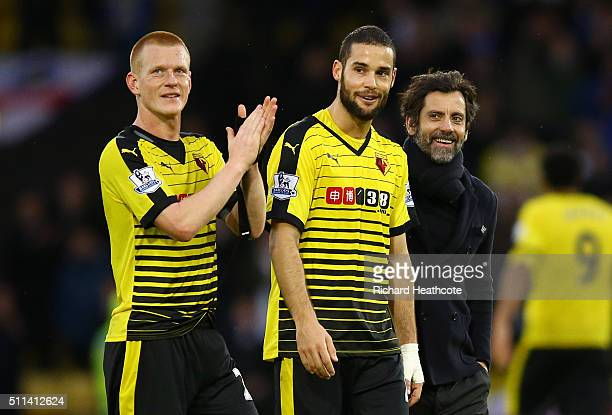 Ben Watson Mario Suarez and manager Quique Flores celebrate their team's 10 win in the Emirates FA Cup fifth round match between Watford and Leeds...