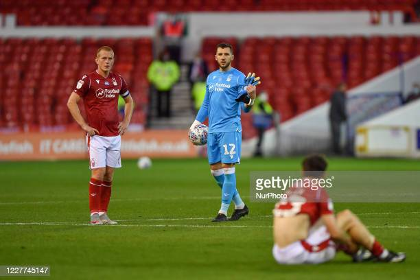 Ben Watson of Nottingham Forest and Jordan Smith of Nottingham Forest looking dejected after being knocked out the playoffs during the Sky Bet...