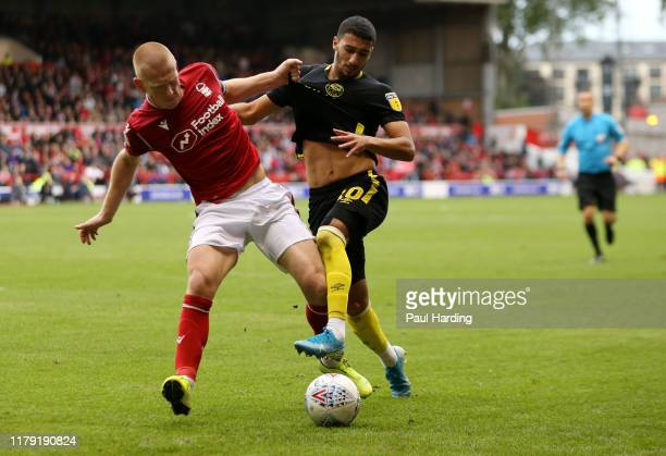 Ben Watson of Nottingham Forest and Said Benrahma of Brentford during the Sky Bet Championship match between Nottingham Forest and Brentford at City...