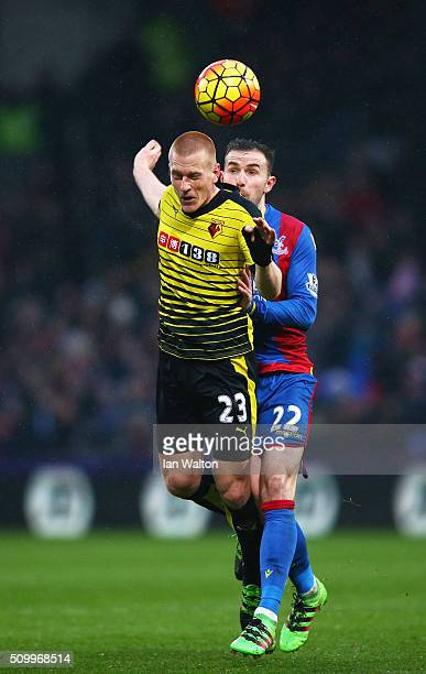Ben Watson of Watford and Jordon Mutch of Crystal Palace compete for the ball during the Barclays Premier League match between Crystal Palace and...
